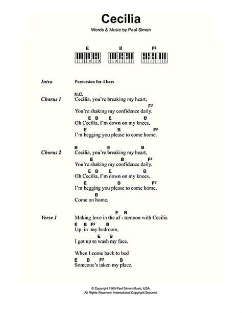 lyrics and piano chords cecilia sheet by simon garfunkel lyrics piano