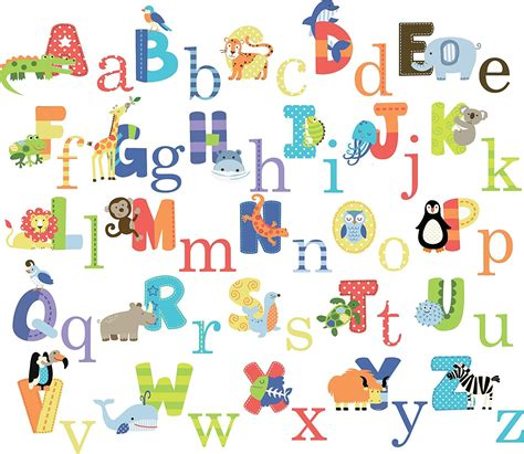 wall stickers alphabet letters elephant wall decal animal alphabet baby nursery
