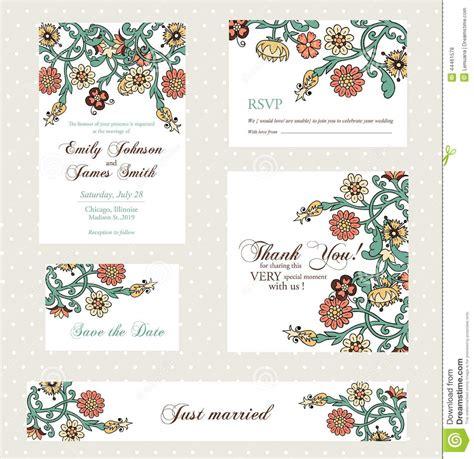 vintage flowers wedding invitations vector wedding invitation set with vintage flowers stock vector