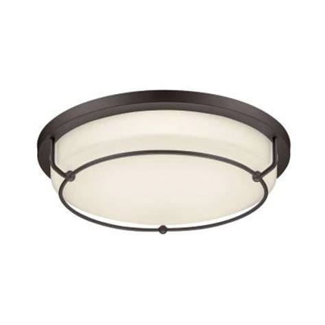 Hton Bay Colonel 2 Light Flush Mount Bronze Fluorescent 48 Fluorescent Light Fixture Home Depot