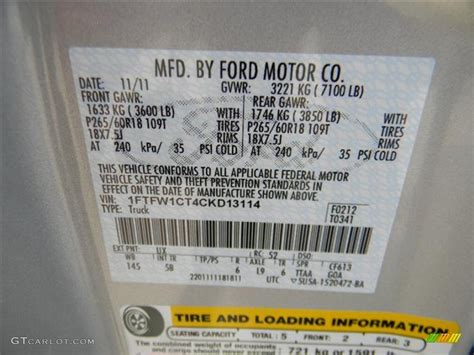2012 f150 color code ux for ingot silver metallic photo 58146035 gtcarlot