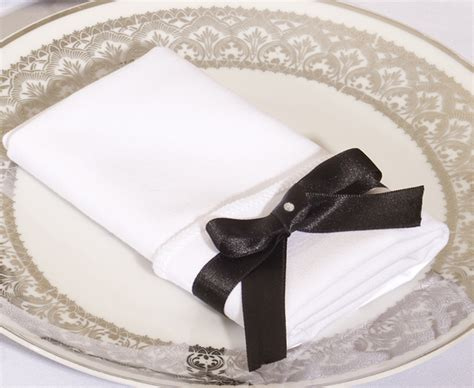 Folding Paper Napkins With Ribbon - set up from always invited
