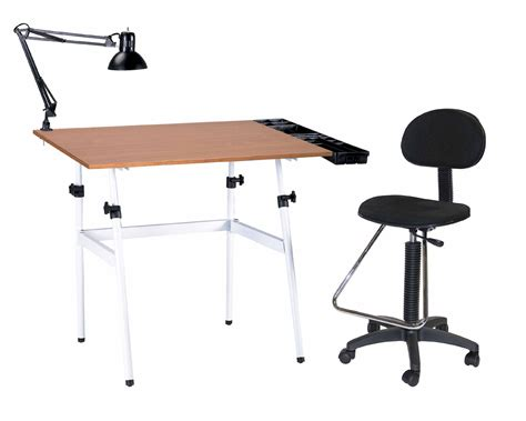 Chair For Drafting Table 4 Pc Combo Tray L And Drafting Drawing Table With Height Seating Chair Ebay