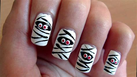 zombie nail art tutorial mummy nail art tutorial for halloween youtube