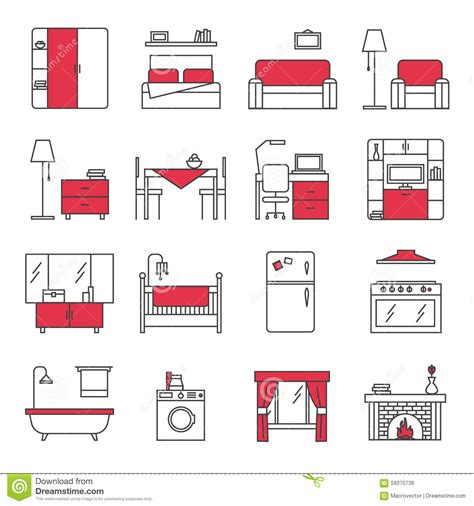 room layout vector furniture line icons set stock vector image of