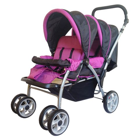 Stroller Baby foxhunter baby tandem stroller pushchair pram buggy travel purple ebay
