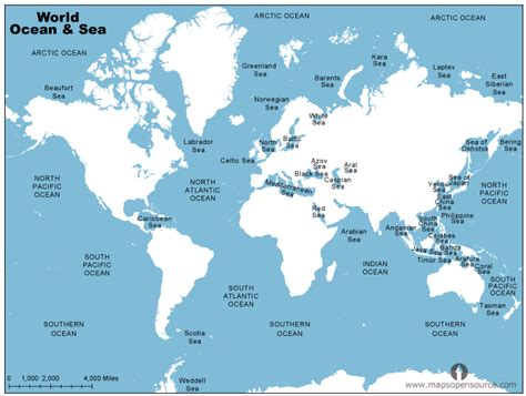 map us oceans oceans and seas seas