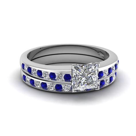 Princess Cut Channel Diamond With Sapphire Wedding Set In
