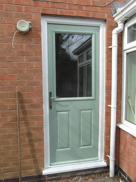 Green Upvc Front Doors 2 Panel 1 Square Glazed Composite Back Door In Chartwell Green Composite Entrance Doors