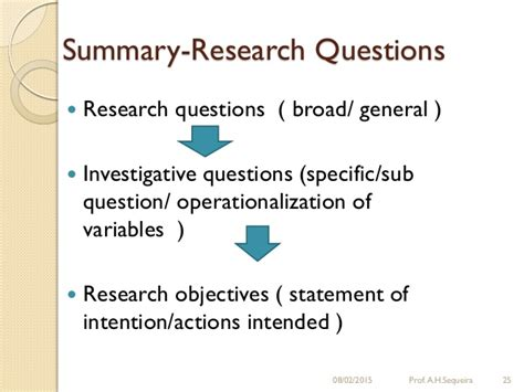 statement of objectives in research research questions and research objectives