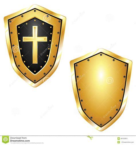 Blue Cross Blue Shield golden shields with cross stock illustration image 48102815