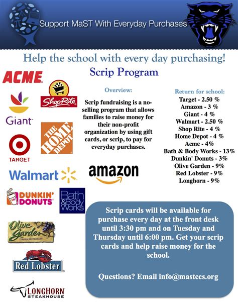 School Gift Card Fundraising - mast community charter school scrip fundraiser