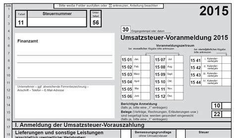 Muster Elster Formular Muster Umsatzsteuer Voranmeldung Dauerfristverl 228 Ngerung 2015 Ver 246 Ffentlicht