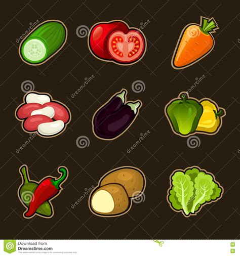Glosy Set by Glossy Vegetable Set Royalty Free Stock Photography