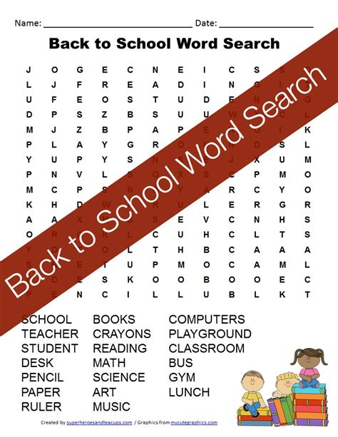 Search By School Back To School Word Search Free Printable For