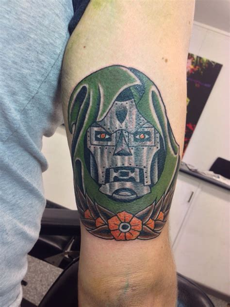 mf doom tattoo traditional dr doom x post r tattoos marvel