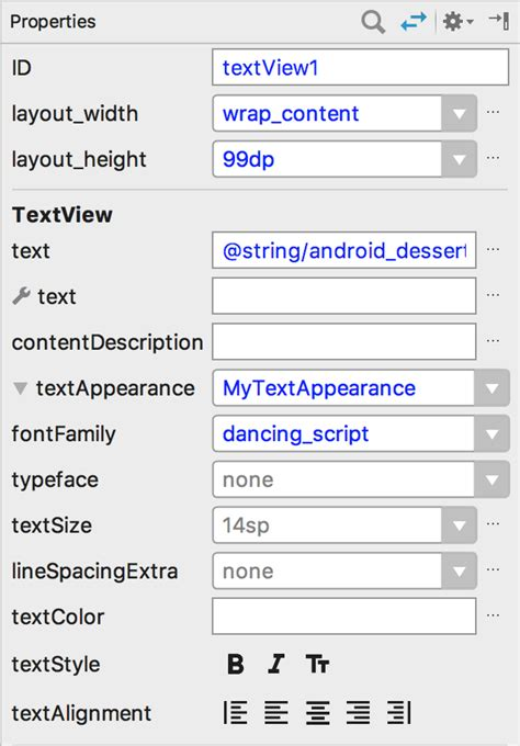 xml layout properties fonts in xml android developers