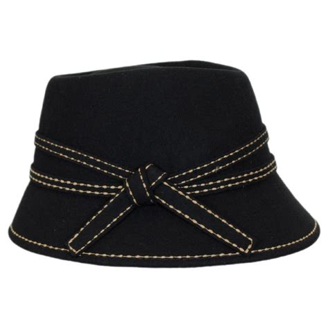 Contrast Stitching Cloche Hat toucan collection wool felt fedora cloche hat cloche