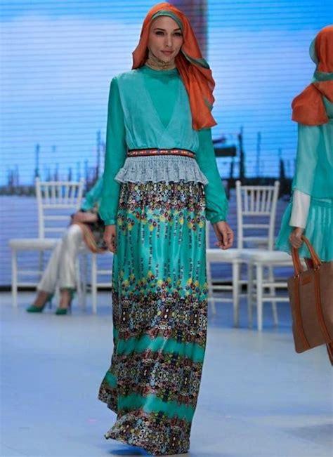 desain gambar dress model baju muslim terbaru shafira nuansa torquise desain