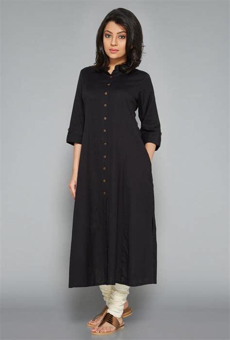 kurta pattern in black utsa black fab front open kurta clothes pinterest