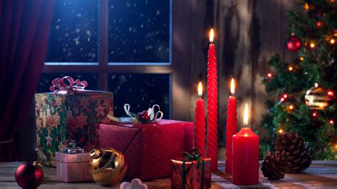 4k wallpaper xmas wallpaper christmas eve presents gifts candles