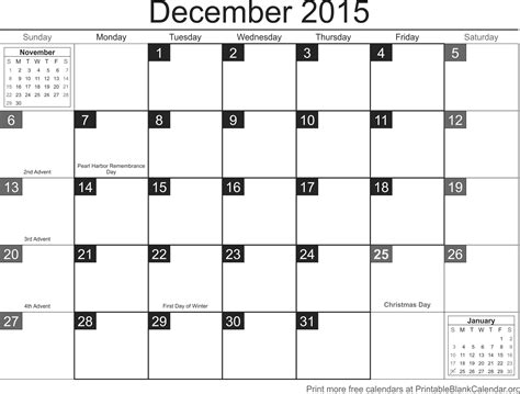 printable december calendar template 2015 december 2015 printable calendar template calendarios