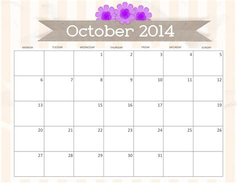simple october 2014 printable calendars