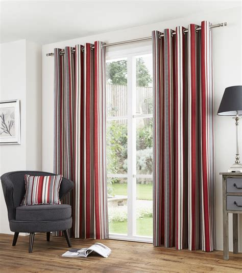 red and gray curtains striped red grey lined 100 cotton ring top curtains 7