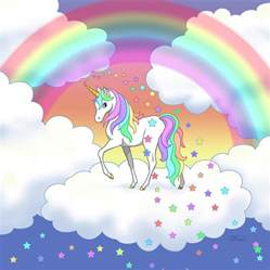 Home Artwork Decor rainbow unicorn clouds and stars painting by crista forest