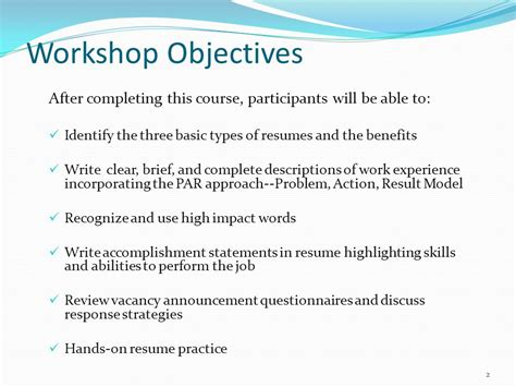Resume Accomplishment Examples by Federal Resume Writing Workshop Ppt Video Online Download