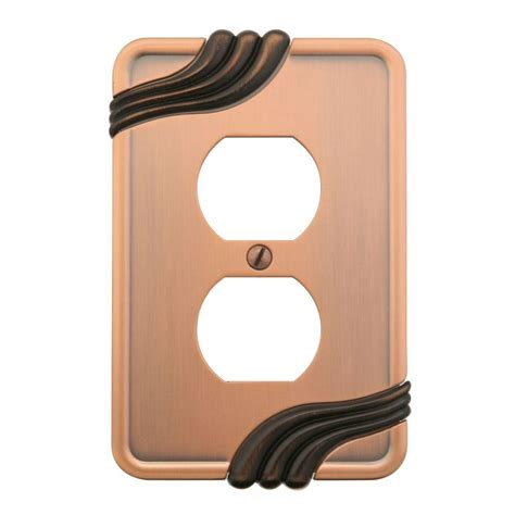 amerelle grayson 1 duplex wall plate copper and the home amerelle grayson 1 duplex wall plate copper and bronze