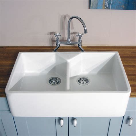 Kitchen Ceramic Sinks Astini Belfast 800 2 0 Bowl White Ceramic Kitchen Sink Waste Ebay