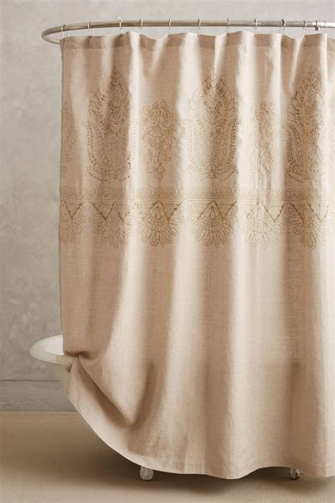 Anthropologie Shower Curtains Embroidered Linen Shower Curtain Anthropologie Buttonholes For Hooks A Sanctuary