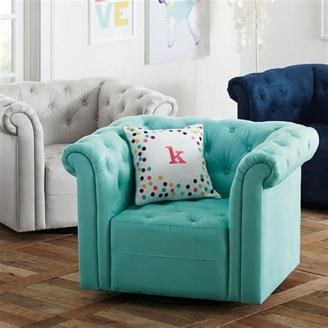 teen bedroom seating cushy roll arm swivel chair pbteen