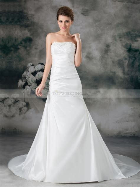 mermaid wedding dress with beading strapless taffeta beaded mermaid wedding dress with court