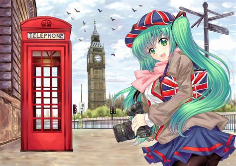wallpaper england girl vocaloid england camera baseball cap skirt big ben