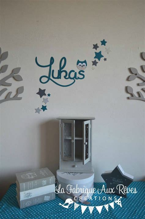 stickers deco chambre garcon stickers pr 233 nom gar 231 on hibou 233 toiles bleu p 233 trole bleu