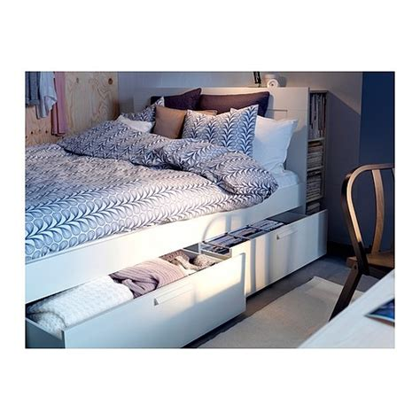 brimnes bed frame with storage headboard brimnes bed frame w storage slatted bedbase ikea the four
