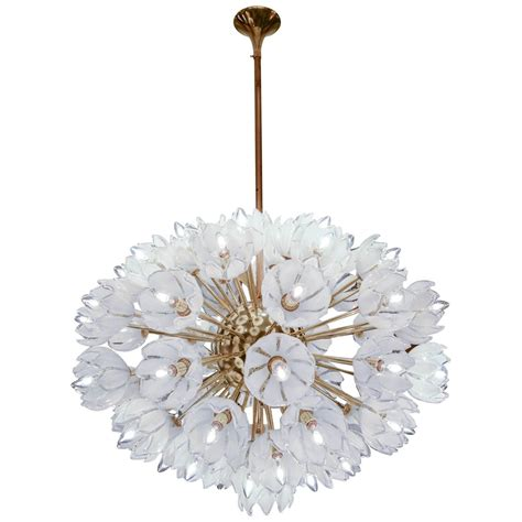 Flower Pendant Chandelier Chandelier With White Flowers At 1stdibs