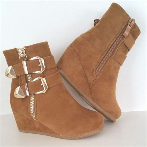 low wedge heel casual dress ankle boots booties