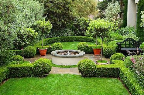 Landscape Garden Design Ideas Decorating Front Yard Landscaping With Trees And Small Fish Pool Plus Black Stained Wooden