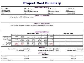 project cost summary template free layout format