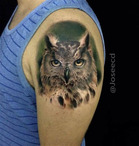 realistic tattoo design realistic owl shoulder best design ideas