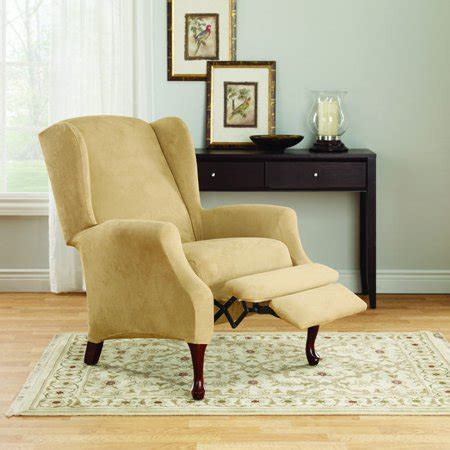Sure Fit Wing Chair Recliner Slipcover by Sure Fit Stretch Suede Wing Chair Recliner Slipcover