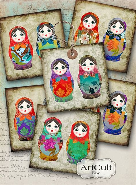 printable birthday cards in russian 2x2 inch printable images babushka twins digital collage