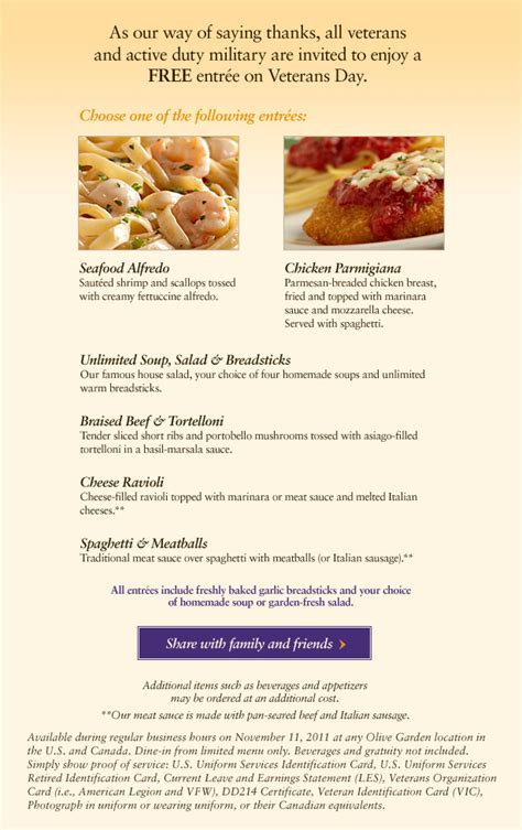 Veterans Day Olive Garden by Olive Garden Veterans Day Free Meal For