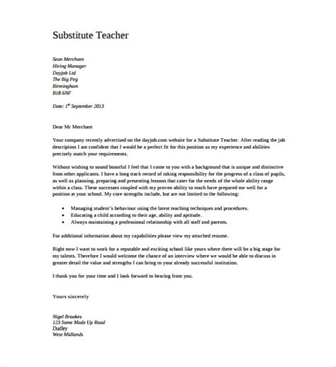 cover letter exles for substitute teachers 11 cover letter templates free sle exle
