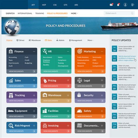 layout web portal design a transportation sharepoint intranet homepage