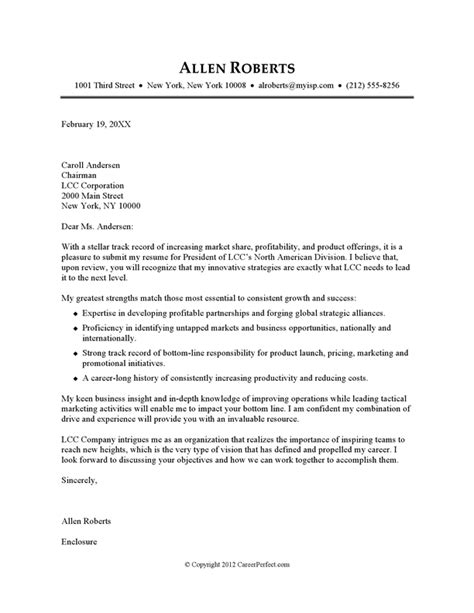 Employment Cover Letter Exle by Cover Letter Exle Executive Or Ceo Careerperfect