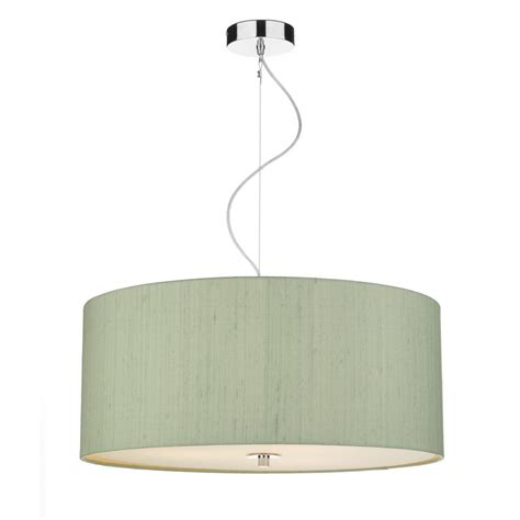 green silk drum pendant light shade with opal